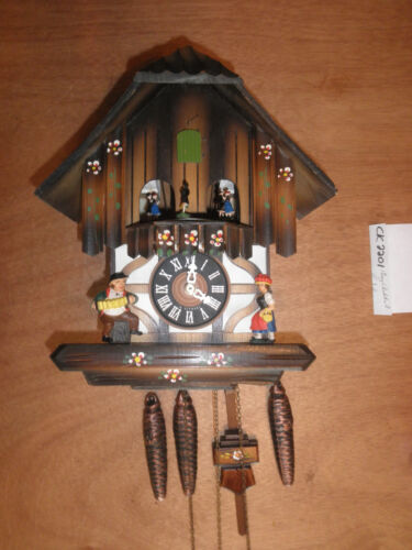 Cuckoo Clock German Black Forest working SEE VIDEO Musical Chalet 1 Day CK2201