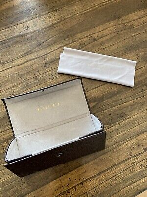 Gucci Sunglasses Case Leather Cookie Emboss w Microfiber Cleaning Cloth VTG NM