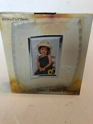 Discount Photo Frames (Giftco inc. Glass Photo Frame Curved Holds 2x3 photo Freestanding Big)