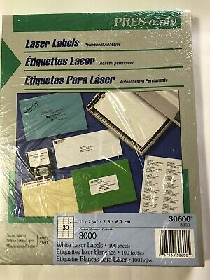 Pres-a-ply Laser Address White Labels 1 X 2-58 3000 Labels Same As Avery 5160