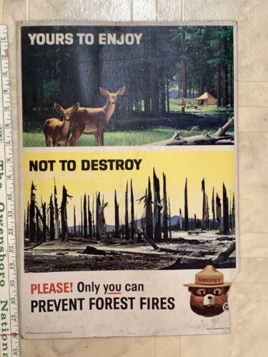 """Vintage 1964 Smokey The Bear """"Yours To Enjoy Not To Destroy"""" Poster"""