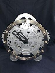 Invotis Nickel/White Modern Time Gear Mantel Desk Clock
