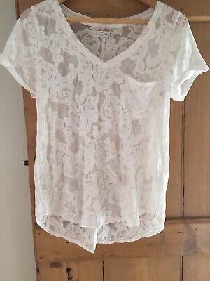 abercrombie and fitch V Neck Floral Sheer Size M White T Shirt