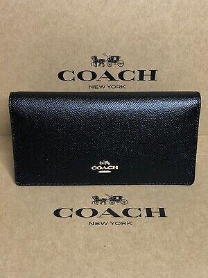 Coach Bifold Slim Crossgrain Leather Wallet  Pen Holder Checkbook Black