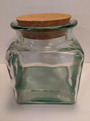 Made in Spain Green Glass Storage Jar Cork Stopper Heavy