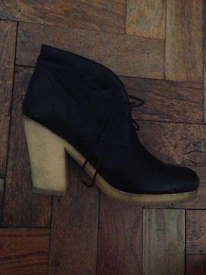 Prada sport Black Leather Crepe Sole Booties Boots Size 39 Uk 6 Mary Kate Olsen, usado segunda mano  Embacar hacia Mexico