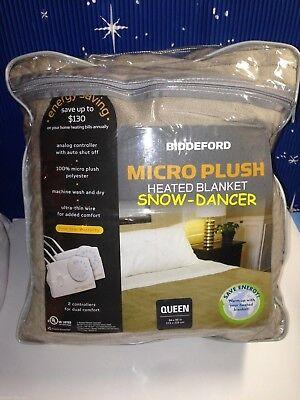 Biddeford Queen Size Electric Heated Blanket Micro Plush Linen