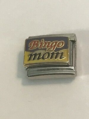 "(""Bingo Mom""- Colorful - B-I-N-G-O - Italian Charm 9mm Link For Bracelet)"