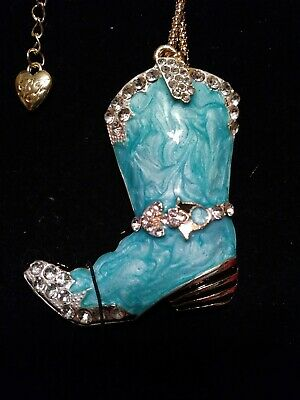 Betsey johnson Teal Crystal cowboy boot necklace