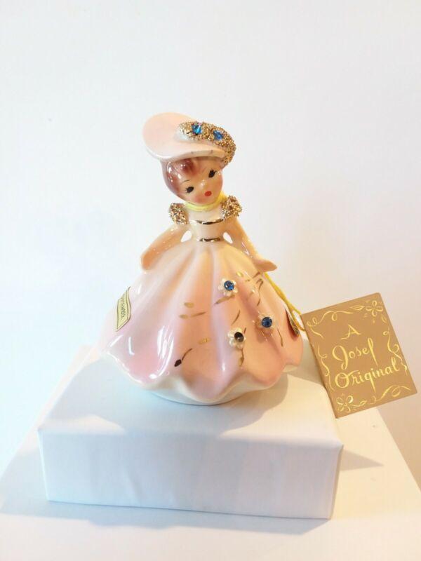 Vintage Tilt Head Josef Original September Girl/Lady Pink  With 5 Stones