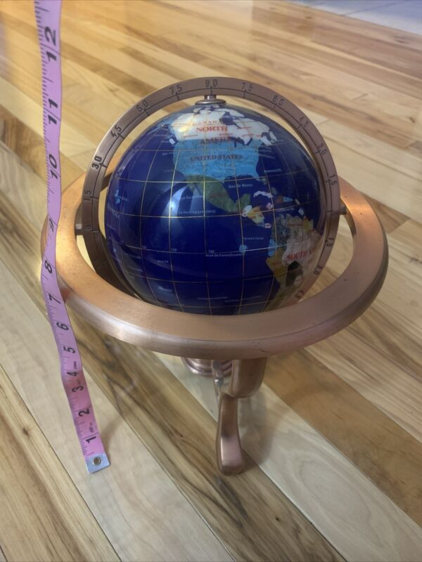 "Inlaid Semi Precious Stone Globe on Copper Stand w/ Compass & Claw Feet 12"" Tall"