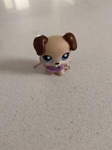 Littlest Pet Shop #143 Boxer Puppy Baby Brown Beige & Purple Bib LPS