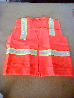 Reflective Safety Vest 3 Stripe w Pockets - Orange w/ Yellow Silver One Size