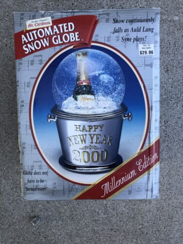 New Mr. Christmas 2000 Millennium Musical Happy New Year Automated Snow Globe