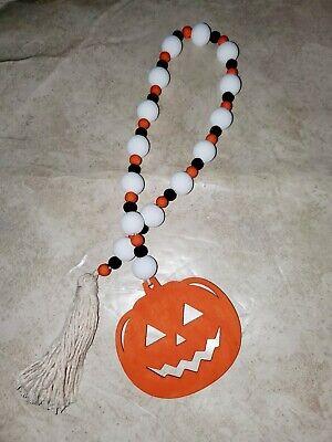 Fall/ Halloween Farmhouse orange,white black Jack o Lantern wood bead Garland