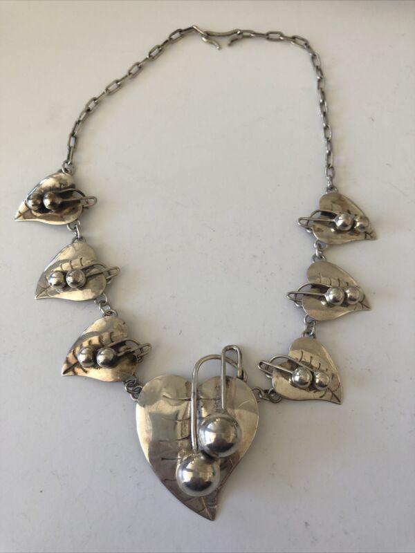 "Vintage Mexico Sterling Silver Leaf  16"" Chocker Necklace"