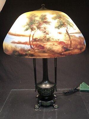 MOE BRIDGES ORIGINAL VINTAGE REVERSE PAINTED LAMP MODEL 195 - c.1920s SIGNED