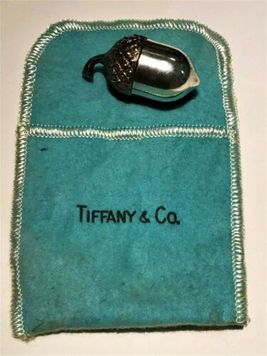 Vintage TIFFANY & CO Acorn Pill Box Sterling Silver and Gold Vermeil 1960