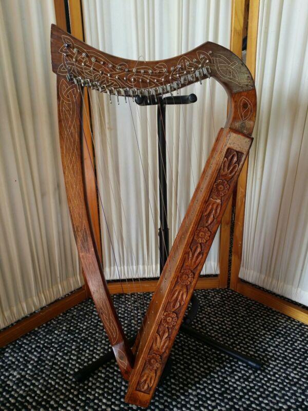19 String celtic Lever Rosewood harp unbranded .