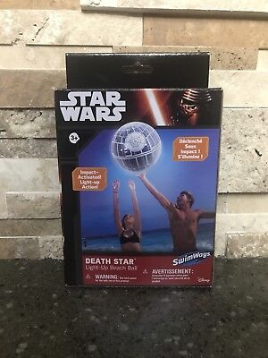 Disney Star Wars Death Star LIGHT UP Beach Ball By Swimways - New In Box