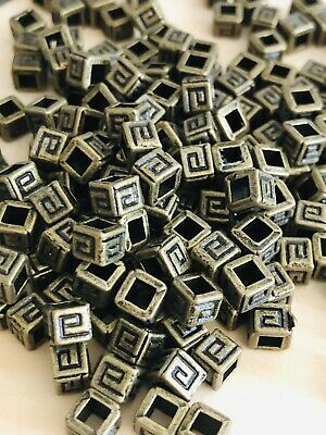 Bronze Greek Pattern Style cube Spacer Beads 4.5m X 4m X hole 2m 100 beads*SALE* Antiqued Bronze Pattern