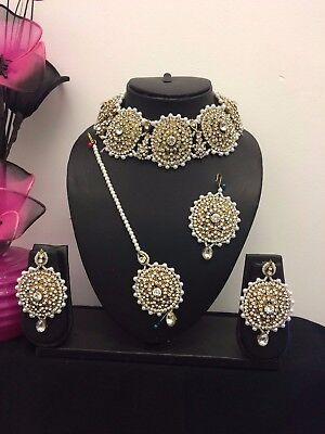 New Chokar Bollywood Indian Necklace Earrings Tikka Jewellery Set Party Wear