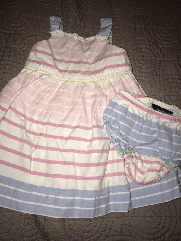 Ralph Lauren Baby Girl Dress Ruffles Navy White Pink Stripes 12 Months Nwt