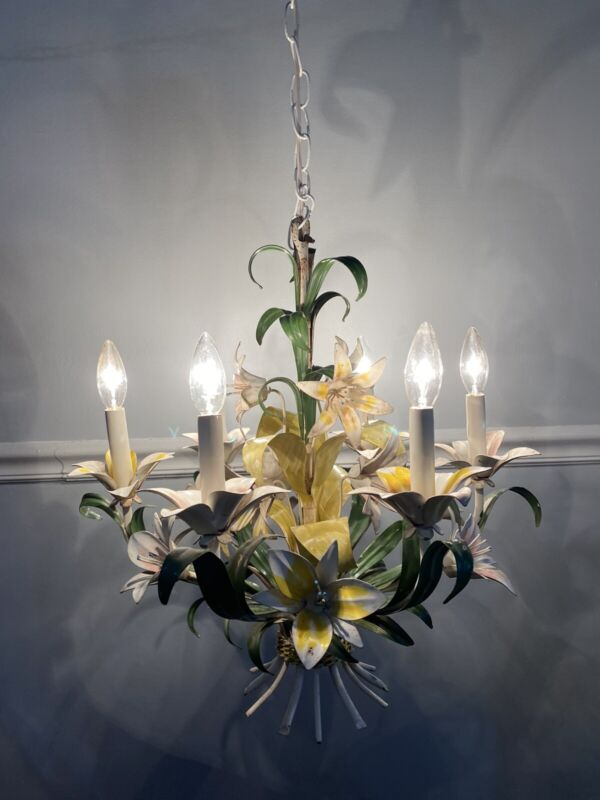 Vintage Italian Tole 6-Light Chandelier with Canopy Yellow and Pink Lily Flowers