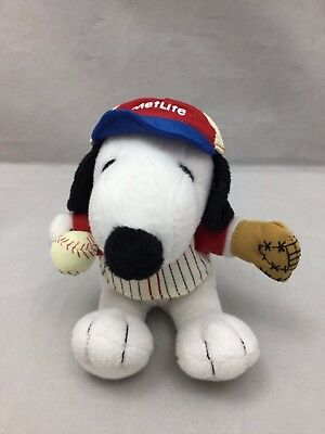 "Peanuts Snoopy Baseball Player Glove Hat #1 Uniform Plush 5"" Met Life Adv Toy"