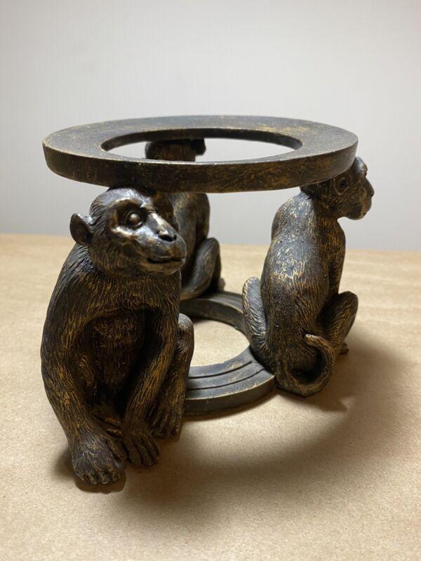 Vintage  Carved Detailed Three Monkeys Hear See Speak No Evil Dark Wood Holder