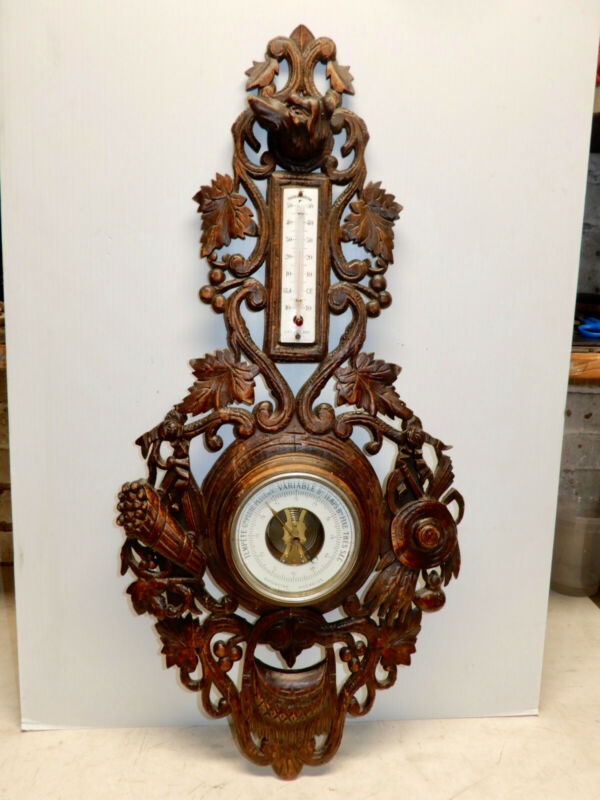 ANTIQUE CARVED BLACK FOREST WALL BAROMETER THERMOMETER DOGS HEAD CIRCA 1870