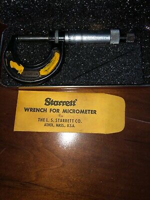 Starrett Inside Micrometer No. 436 1 Inch With Case And Wrench