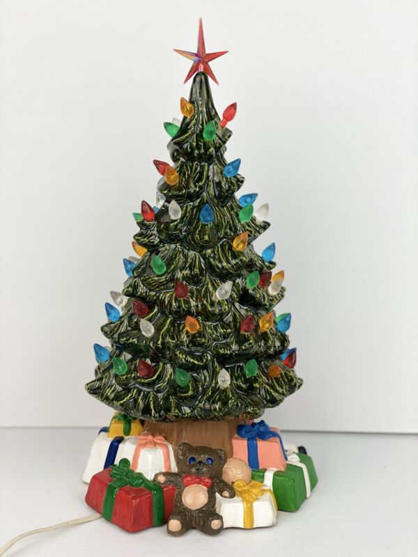 "14 "" Lighted Ceramic Christmas holiday Tree VTG 1980 WORKS Presents base"