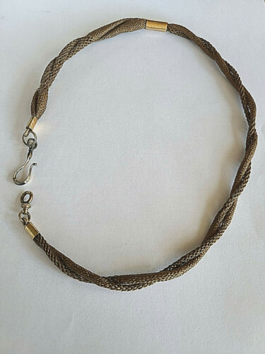 """ANTIQUE VICTORIAN ROSE GOLD FILLED WOVEN HAIR MOURNING WATCH CHAIN 19 1/2"""""""
