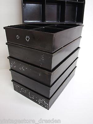 6 Bakelit Kisten Art Déco Bauhaus Sortierschachtel schwarz stapelbar Schachtel