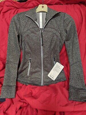 LULULEMON Size 2 Define Jacket Black grey spots LFBV Zip Up Shape Stride Run NWT