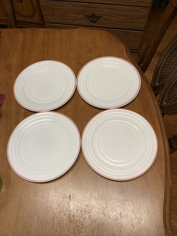 "Hazel Atlas MODERNTONE PLATONITE WHITE W/RED STRIPE 9"" DINNER Lunch PLATES*"