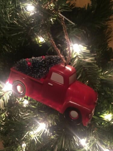 New Primitive Farmhouse VINTAGE RED TRUCK CHRISTMAS TREE Hanging Ornament 5""