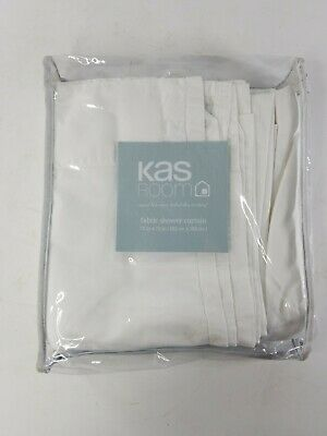 """Kas Room White Fabric Shower Curtain 72"""" x 72"""" -- NEW"""