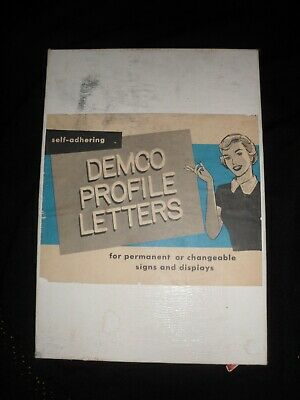 """Vintage 1960s Demco Profile 1 1/2"""" Letters Signs Displays White Plastic Office"""