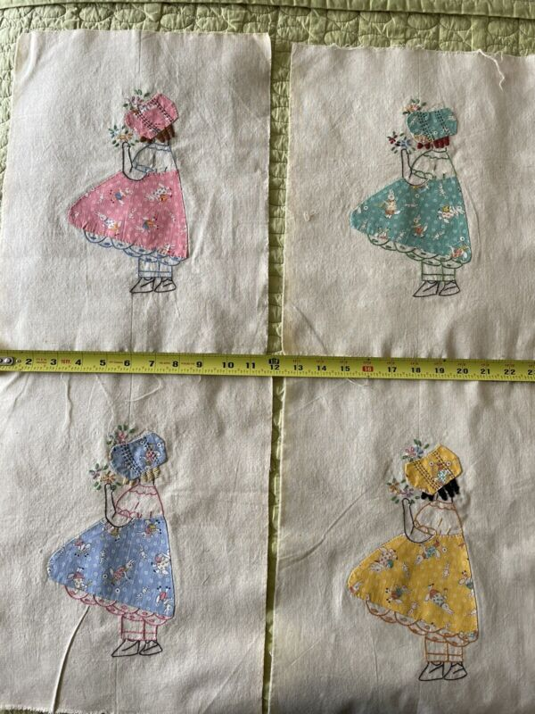 Vintage quilt panels With 1930s Feedsack Print Applique For Hat And Dress.