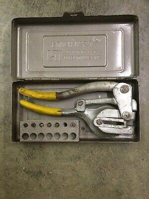 Vintage Roper Whitney No. 5 Jr. Hand Punch Set W Metal Case