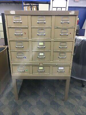 Steel Multiple Drawer Card File Cabinet Vintage Industrial