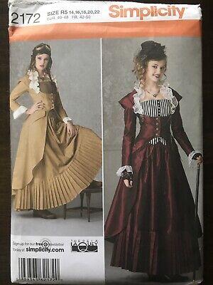 Simplicity Costume Pattern, Steam Punk Dress, Sz R5 14,16,18,20,22, #2172