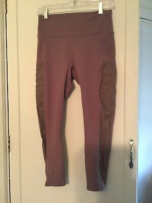 Fabletics High Waisted Leggings * Medium.Mauve Color *Mesh Sides   Has Pockets