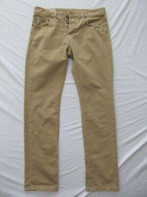 A&F Abercrombie khaki pants jeans 31x32 tan button fly modern skinny BROKEN IN