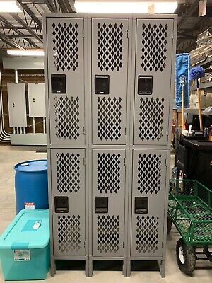 Industrial Lockers - Ventilated Double Tier 3 Wide Assembled 36 Wide 18 D