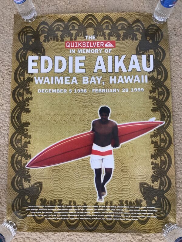 QUIKSILVER-EDDIE AIKAU WOULD GO 1998-1999 WAIMEA BAY HAWAII RARE & OOP POSTER