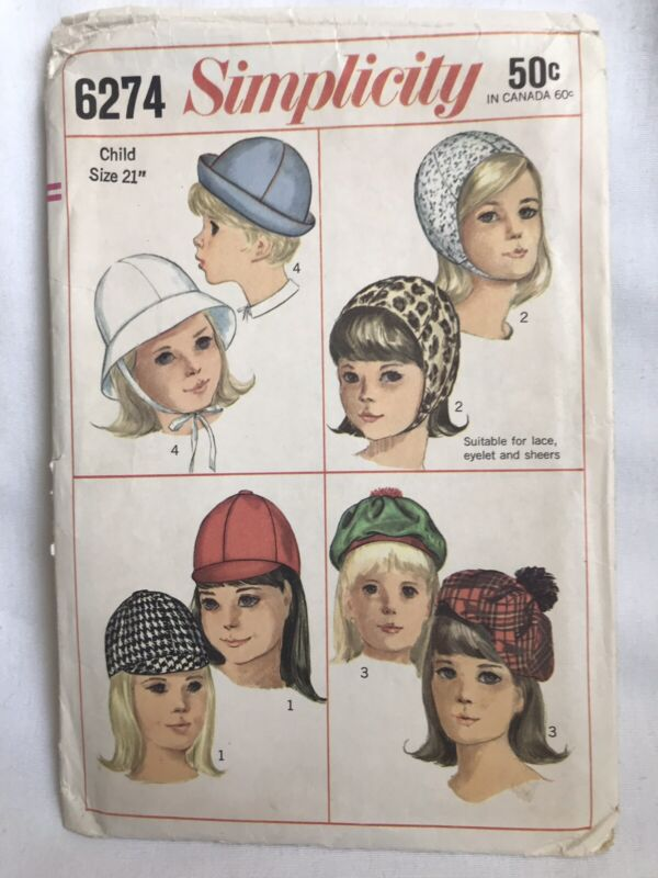 Vintage Simplicity Pattern 6274 Child's Hats