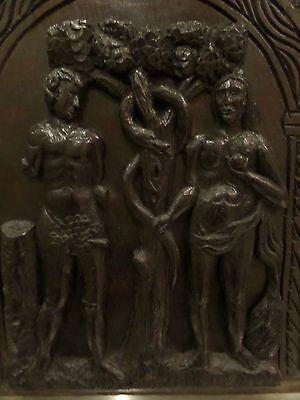 16th Century Carved Oak Panel Adam & Eve